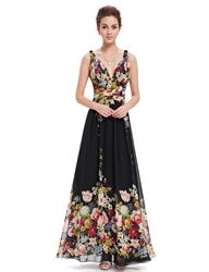 Black Deep V-Neck Floral Print Long Chiffon Prom Dresses
