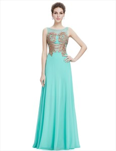 Mint Green Sleeveless Chiffon Prom Dress With Gold Accents