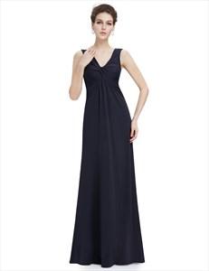 Black Sheer Back Chiffon Prom Dresses With Ruching Bodice