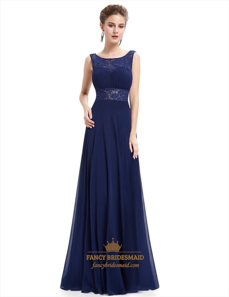 Navy Blue Open Back Chiffon Prom Dress With Lace Cut-Out Waist