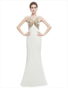 Ivory Chiffon Mermaid Sheer Back Prom Dress With Embellished Bodice