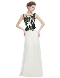 Ivory Chiffon Long Prom Dress With Black Lace Applique