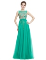 Green Sleeveless Tulle Prom Dress With Gold Accents