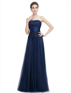Navy Blue Tulle Prom Dress With Beaded Lace Applique
