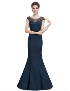 Navy Blue Sheer Back Prom Dresses With Beaded Top