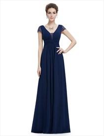 Navy Blue V Neck Chiffon Prom Dress With Ruching In Waist