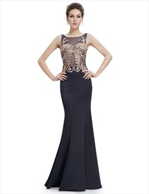 Black Mermaid Sheer Back Prom Dress With Gold Accents
