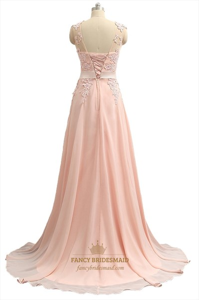 df560cd5f5356 Floor Length Illusion Neckline Chiffon Prom Dress With Lace Bodice ...