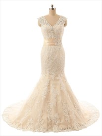 Champagne Sleeveless V-neck Lace Mermaid Wedding Dress