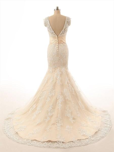 Champagne Sleeveless V-neck Lace Mermaid Wedding Dress