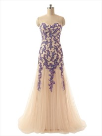 Strapless Sweetheart Floor Length Tulle Dress With Ruched Bodice