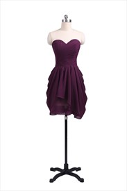 Short Sweetheart Neckline Ruched Bodice Chiffon Homecoming Dress