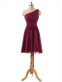 Princess One-shoulder Knee-length Chiffon Bridesmaid Dress With Ruffle