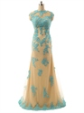 Champagne Sheer Illusion Neckline Beaded Embellished Open Back Dresses