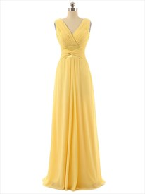 Yellow Chiffon Floor Length Criss Cross V-neck Bridesmaid Dress
