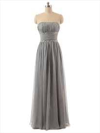 Grey Strapless Crinkle Chiffon floor length bridesmaid dress