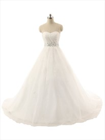 Strapless Sweetheart Tulle Wedding Gown With Beaded Appliques