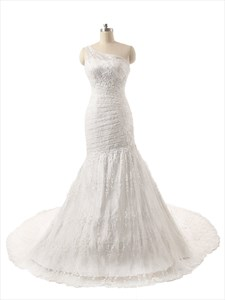 Amazing  One Shoulder Mermaid Court Train Lace Wedding Dress