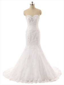 Mermaid Strapless Beaded Sweetheart Neckline And Crystals Lace Wedding Dress