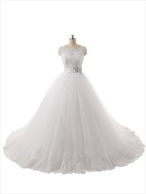 Clssic Ball Gown Sheer Cap Sleeves Lace Top Wedding Dress With Chapel Train