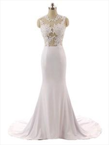 Captivating Illusion Floral Applique Top Satin Mermaid Wedding Dress