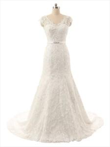Perfect Sheer Lace SweetheartCap Sleeves Mermaid Wedding Dress