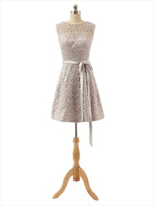 Sleeveless Bateau Neckline A-Line Lace Overlay Knee Length Bridesmaid Dress