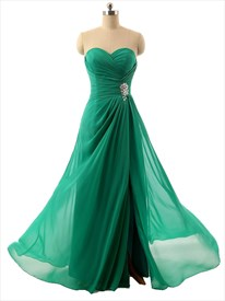 Emerald Green Strapless Sweetheart Neckline Chiffon Pleated Evening Dress