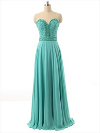 Green Strapless Beaded Bodice Sweetheart Neckline Bridesmaid Dresses