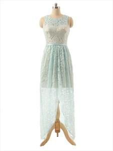 Sleeveless Bateau Neckline Satin Bridesmaid Dress With Illusion Lace Overlay