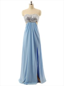 Floor Length Beaded Bust Sheer Waist Prom Dress With Slits And Open Back