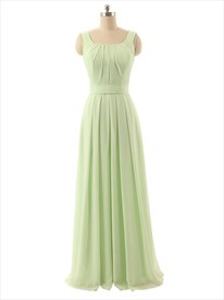 Light Green A-Line Strapless Ruffles Floor-Length Chiffon Prom Dress
