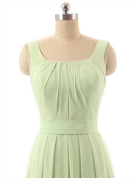 Light Green A-Line Strapless Ruffles Floor-Length Chiffon Prom Dress