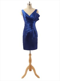 Elegant Royal Blue Short Sleeveless Prom Dress With Ruched Waist