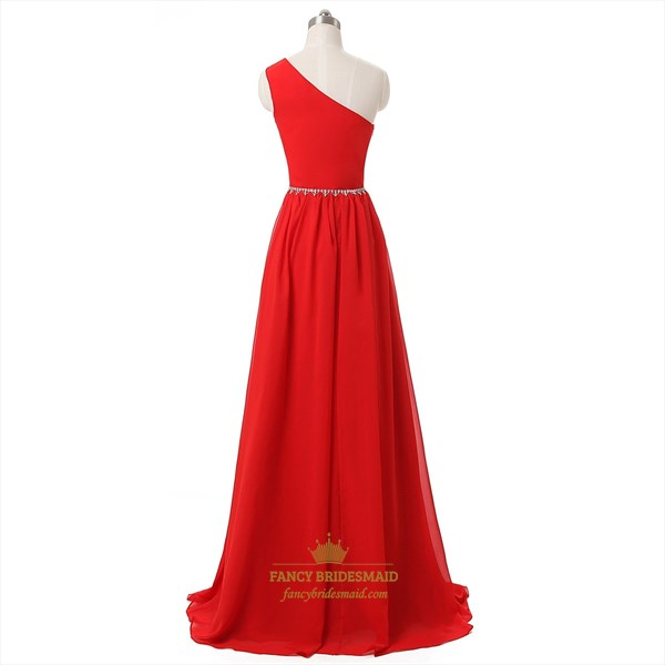 Red One-Shoulder A-Line Chiffon Floor-Length Beaded Prom Dress