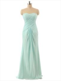 Mint Green Strapless Sweetheart Neckline Chiffon Bridesmaid Dress