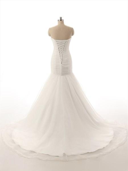 Ivory Strapless Drop Waist Mermaid Wedding Dress With Train