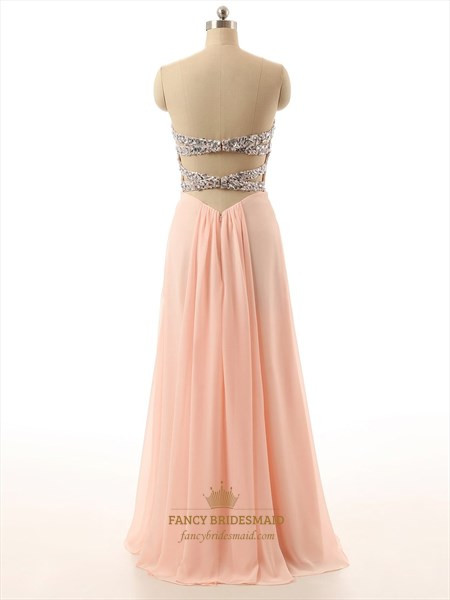 Coral Strapless Sweetheart Neckline Chiffon Rhinestone Dress With Open Back