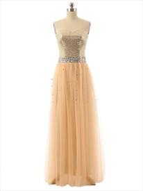 Strapless Sequin Bodice Chiffon Dress With Rhinestone Embellished Waist