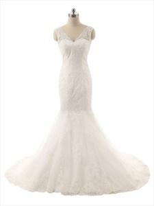 Ivory Lace Applique Mermaid V-Neckline Wedding Dress With Sheer Straps