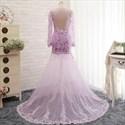 Lavender Sheer Lace Qpplique Overlay Long Sleeve Wedding Dress
