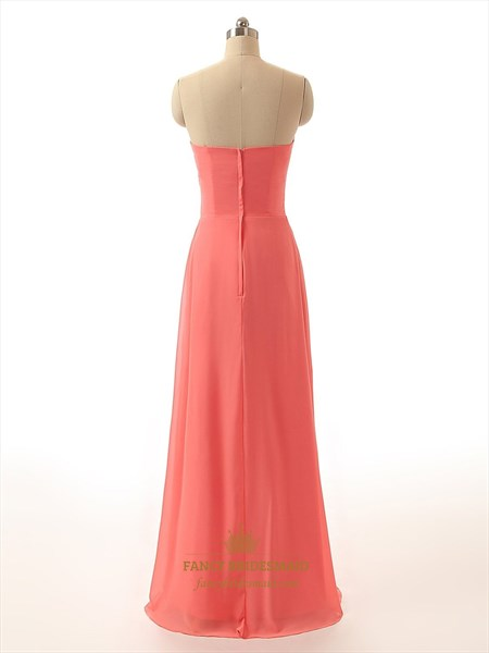 Coral Strapless Crinkle Chiffon Ruched Bodice Evening Dress With Front Cascade
