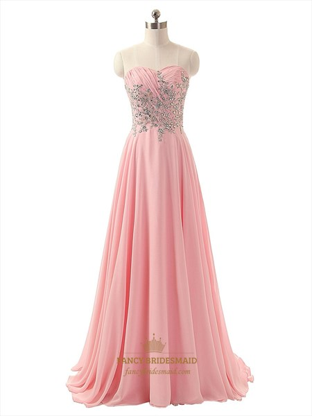 Pink Strapless Chiffon Beaded Bodice A-Line Floor Length Brideamaid Dress