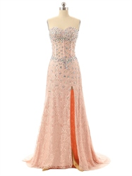 Pink Strapless Beaded Corset Sweetheart Neckline Lace Dress With Slits