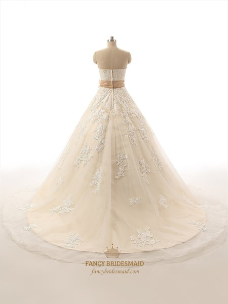 Champagne Strapless Floral Applique Tulle Overlay Wedding Dress With Sash