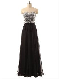 Black Strapless Sequin Bodice Sheer Waist Sheath Chiffon Prom Dress