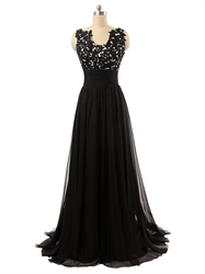 Black Full Length Empire Waist Lace Applique Bodice Chiffon Prom Dress