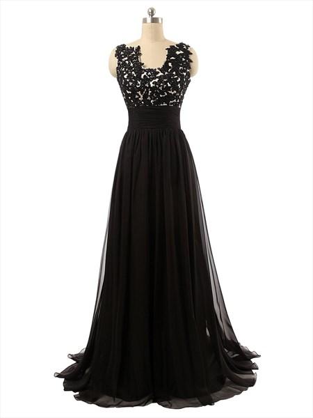 Black Full Length Empire Waist Lace Applique Bodice Chiffon Prom Dress