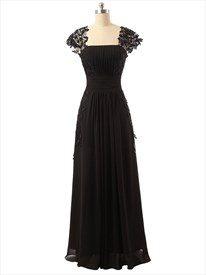 Black Sheer Cap Sleeve Ruched Bodice Chiffon Dress With Applique Detail