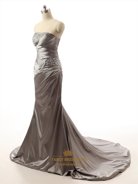 Grey Strapless Embellished Ruched Bodice Prom Dress